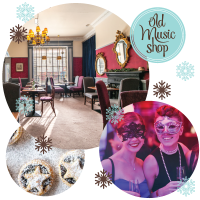 Festive Montage of pictures of restaurant interior, women wearing masks holding drinks at a party, mince pies and christmas snow flakes and festive afternoon tea.