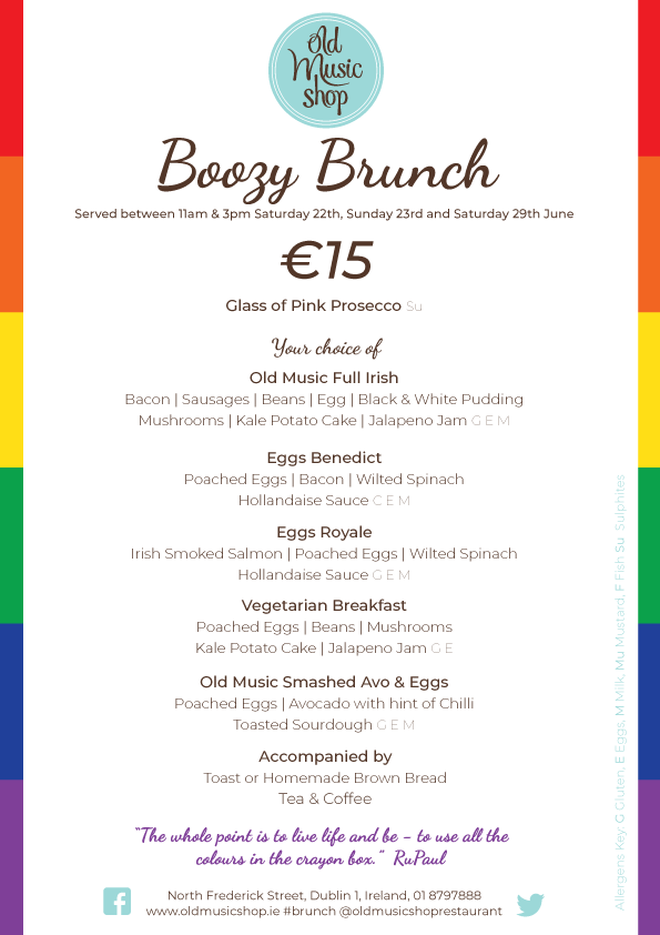 LGBTQ Dublin Pride Brunch Menu for Weekend Special Offer 15 Euro