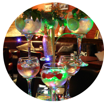 Festive Gin Tree Stand with Nine gin drinks served in Old Music Shop and Castle Vaults at Castle Hotel Dublin