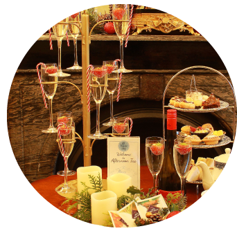 Festive Afternoon Tea Dublin with Prosecco Tree served at Old Music Shop Restaurant at Castle Hotel