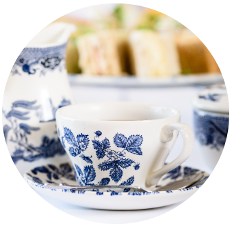 Blue China Tea Cup served during Afternoon Tea at Old Music Shop Restaurant Dublin