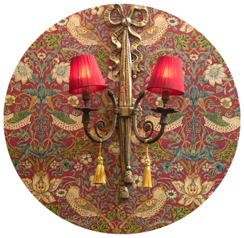 Antique Wall Lights with Red Lamp Shade on Restaurant Wall