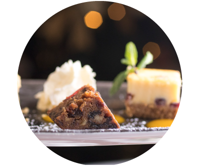 Miniature Christmas Cake and Cheesecake at Old Music Shop Restaurant Christmas Dinner