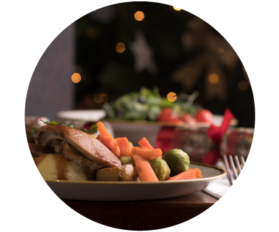 Turkey and Ham Christmas Dinner 2020 Dublin with seasonal vegetables at Old Music Shop RestaurantCastle Hotel Dublin