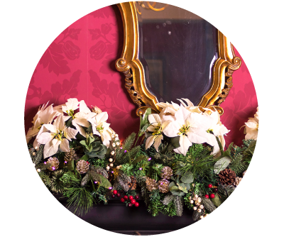 Mirror and Festive Christmas Flowers in Old Music Shop Restaurant Dublin Ireland