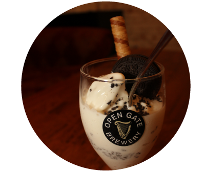 Oreo Sundae with Chocolate Sauce at Thanksgiving 2020 Dinner in Dublin Ireland at Old Music Shop Restaurant Castle Hotel