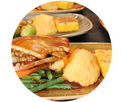 Turkey and Ham Thanksgiving Dinner 2020 Dublin with seasonal vegetables at Old Music Shop RestaurantCastle Hotel Dublin